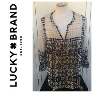 Lucky Brand boho tunic with 3/4 rousched Sleeve